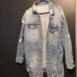 Super cute/ distressed oversized denim jacket